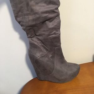 Jessica Simpson knee high gray wedge boots